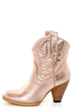 b11d5ac7ddf2 Very Volatile Bolo Rose Gold Metallic Embroidered Cowboy Boots