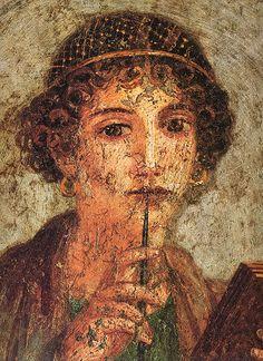 Sappho of Lesbos. Roman fresco from Regio VI (insula occidentalis) in Pompeii Ancient Rome, Ancient Greece, Ancient Art, Ancient History, Rome Antique, Art Antique, Italy History, Art History, Wax Tablet