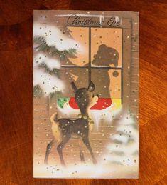 VINTAGE Christmas Greeting Card EMBOSSED GOLD DEER WATCHING SANTA IN WINDOW