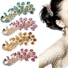 2014 Hot Selling Fashion Peacock Full Crystal Rhinestones Hairpin Hair Clip Headwear Barrettes for Women(China (Mainland))