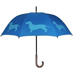 Paraguas azul con perro salchicha
