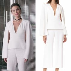 Cristal Flores wears this Cushnie et Ochs white caped jumpsuit on Dynasty 1x05