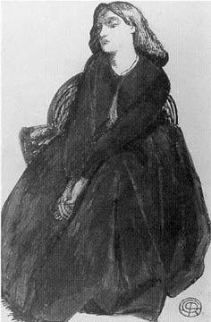 Elizabeth Siddal seated in a basket chair by Dante Gabriel Rossetti