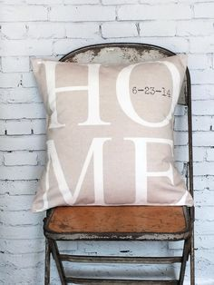 Pillow Cover Housewarming Gift Home Choose your date by Jolie Marche on Etsy