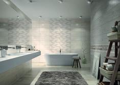 subtelne beże i modne szarości   płytek z kolekcji Woodgrey stworzyły klimat tej  delikatnej łazienki