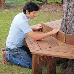 How to build a tree bench that just might become your favorite outdoor spot.   Photo: Matthew Benson   thisoldhouse.com
