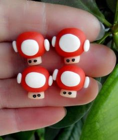 New to SpektroDesign on Etsy: Super Mario Bros Mushroom Earrings Red/White Handmade Polymer Clay 3D (8.90 USD)