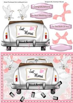 Lovely Wedding Day car in Pink and white on Craftsuprint - Add To Basket!
