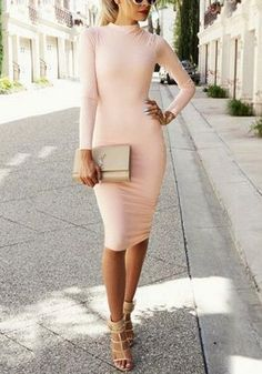 This gorgeous light pink bodycon midi dress features mock neck design with long sleeves detailing, midi length and bodycon style.   #womensfashion