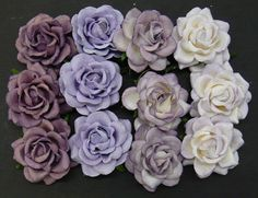 5 x Mulberry Paper Flowers TRELLIS ROSES 40mm  Mixed PURPLE/LILAC Embellishments #SweetpeapollysCraftyThings #Embellishments