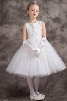 72017db5327 Chic A-line Princess Lace Top Knee-length Tulle Flower Girl Dresses