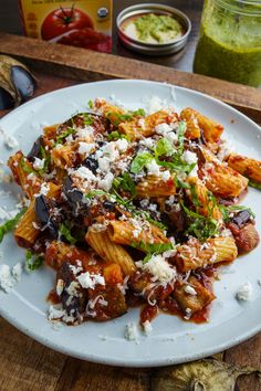 Pasta Alla Norma - A quick and easy eggplant pasta topped with fresh basil and plenty of cheese! Eggplant Recipes Pasta, Eggplant Dishes, Easy Pasta Recipes, Dinner Recipes, Roasted Eggplant Pasta, Pasta With Eggplant Sauce, Pasta With Aubergine, Italian Dishes, Italian Recipes