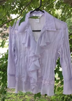 Allison Taylor victorian style frilly lavender blouse size S easy care #AllisonTaylor #Blouse