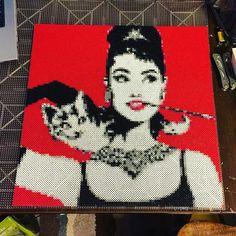 Audrey Hepburn original perler pixel piece by gundamzombie
