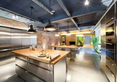 Industrial Loft Space With Fresh Green Decor kitchen dining area