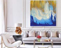 Gold White and Blue, Large Wall Art, Watercolor Painting, Print, Gold Leaf, Contemporary Art, Canvas, Abstract Seascape, ''Pacific Coast''