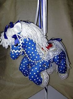 "Vintage Collectible Home Decor Victorian Handmade Carousel Pony Horse Fabric 24"" FREE Shipping in USA"