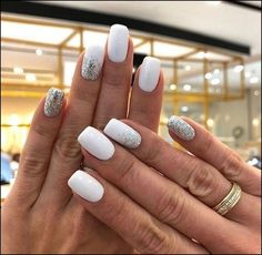 Cute Nail Art Designs, White Nail Designs, White Nail Art, White Nails With Glitter, White Shellac Nails, White Short Nails, Acrylic Nails, Sparkly Nails, White Summer Nails
