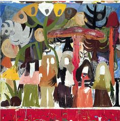 Tal R  Sisters of Kolbojnik  2002  Oil on Canvas  250 x 250cm  'I do painting a bit like people make a lunch box,' Tal R explains, 'I constantly have this hot-pot boiling and I throw all kinds of material into it.'