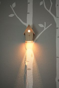 Avery Wall Hanging Birdhouse Lamp - Modern Baby Nursery Lighting - Love this nightlight So I was thinking this would a be cute light in the yard. Might want to cover - Baby Bedroom, Kids Bedroom, Kids Rooms, Bedroom Ideas, Bedroom Lamps, Baby Rooms, Small Rooms, Bedroom Decor, Nursery Lighting
