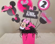Items similar to Minnie Mouse Happy Birthday Centerpieces, Minnie Mouse Birthday Decorations/Minnie Mouse Party, Minnie Mouse Decorations on Etsy Birthday Cards For Son, Little Girl Birthday, Baby Birthday, Third Birthday, Birthday Cakes, Birthday Ideas, Pink Minnie, Mickey Minnie Mouse, Minnie Mouse Birthday Decorations