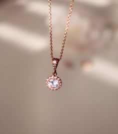Petite Rose Gold Wedding Necklace Bridesmaid Gift Necklace Pink Gold Cubic Zirconia Bridal Necklace wedding gift jewelry