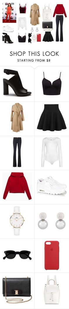 """Selena Gomez - Vardagsgarderob"" by xlinneaauror on Polyvore featuring WithChic, Frame, Wolford, NIKE, Daniel Wellington, Henri Bendel, Apple, Salvatore Ferragamo and French Connection"