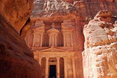 Hidden City of Petra, carved into the cliff in a hidden valley