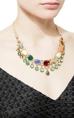 Raj Navratna Choker by Sanjay Kasliwal Traditional Indian Jewellery, Indian Jewelry, Indian Designer Wear, Handcrafted Jewelry, Jewelry Crafts, Wedding Jewelry, Jewelry Design, Chokers, Bling