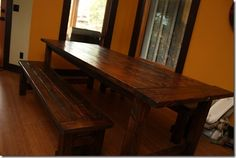 Farmhouse table and benches | Do It Yourself Home Projects from Ana White