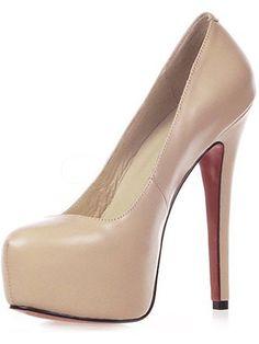 """5 1/2"""" High Heel 1 1/5"""" Platform Sheepskin Womens Pumps"""