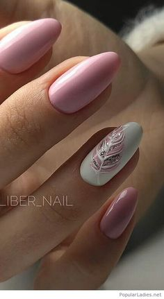 Pink and white mani with gel