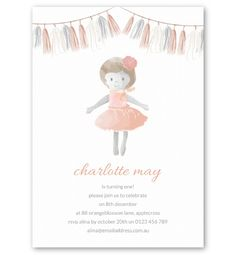 She's sweet and small, with a big imagination. Celebrate your little girls' birthday with our Dolly Invitation. If she loves to play, it's the perfect combination.