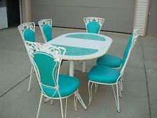 VINTAGE RETRO 8 PC DINING SET 50u0027S   60u0027S 6 CHAIRS TABLE LEAF WROUGHT IRON  STONE