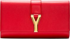 Saint Laurent - Red Leather Y Clutch