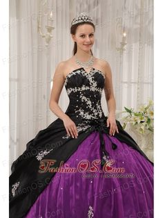 Modest Black and Purple Quinceanera Dress Strapless Taffeta and Organza Apppliques Ball Gown  www.fashionos.com  It features a strapless bodice with appliques and beadings all over it, exuding elegance and sex appeal. This purple quinceanera dress, in two color, will enable to make a deeper impression on others.Crystal beadings also embellish skirt. It is the best choice for your party.