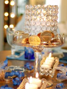 a Sparkling Blue and White Hanukkah Celebration Crystal, blue and gold centerpieces shine on your Hanukkah table.Crystal, blue and gold centerpieces shine on your Hanukkah table. Feliz Hanukkah, Hanukkah Crafts, Hanukkah Decorations, Christmas Hanukkah, Hannukah, Happy Hanukkah, Jewish Crafts, Hanukkah Food, Menorah
