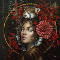 The Best of Beautiful and Creatives Artworks around the Wold Fantasy Paintings, Fantasy Art, Art Beauté, L'art Du Portrait, Portraits, Abstract Face Art, Magic Realism, Nature Illustration, Animal Totems