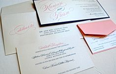 pink and blue panel wedding invites