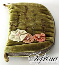 Olive Needle Book  Floral Hand Embroidery  Needlecase Sewing