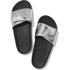 Victoria's Secret PINK Crossover Comfort Slide Silver Metallic- Small... ($70) ❤ liked on Polyvore featuring shoes, silver metallic shoes, victoria secret shoes and victoria's secret