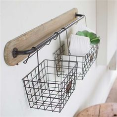 Wall bracket made of wood and metal with 2 wire baskets baskets . Wall bracket made of wood and metal with 2 wire baskets Always wanted to discover how. Wire Baskets, Storage Baskets, Hanging Baskets, Storage Ideas, Organization Ideas, Wire Basket Decor, Bathroom Organization, Hanging Storage, Storage Rack