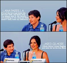 Lana Parilla and Jared Gilmore, I love this show for giving such a beautiful look at the fact that adoption makes real, solid families.  The bond these families share might not be blood, but it is love and choice and that is every bit as strong and as real.
