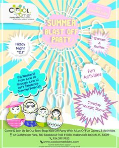 THIS WEEKEND COME & ENJOY OUR SUMMER BLAST - OFF PARTY!!!!! #CoolCornerBistro Summer Bash, Magic Show, Weekend Activities, Lets Celebrate, Party Games, Play, Cool Stuff, Fun, Kids