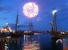 Halifax Waterfront, Fireworks during Tall Ships Halifax Waterfront, Tall Ships, Nova Scotia, Geography, Fireworks, Exploring, Attraction, Beautiful Places, Fair Grounds