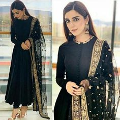 Buy this beautiful black suit she_designer_official fabric georget suit length 53 semi stich upto 44 row silk bottom unstitch net duppata with heavy embroidery work price 1950 shipping extra short suits are about to be the biggest summer trend Designer Kurtis, Indian Designer Suits, Designer Dresses, Indian Designers, Designer Salwar Suits, Designer Clothing, Pakistani Dress Design, Pakistani Outfits, Pakistani Couture