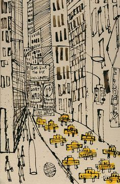 New York City Taxi Drawing Signed Art Print New York Painting Manhattan Street Dont Walk One Way NYC Sign Skyscrapers Clare Caulfield New York Painting, Mixed Media Painting, City Painting, Painting Art, Painting Prints, New York Taxi, New York City, New York Street, Taxi Drawing
