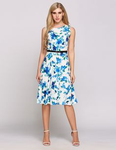 Blue Sleeveless Vintage Styles Belted Print Swing Dress