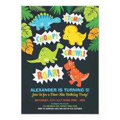 Cute Dinosaur Birthday Party Dino Chalkboard Invitation