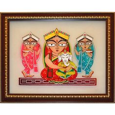Jamini Roy: Parvati and Ganesha with Lakshmi and Swaraswati - Glass Painting -Home Decor-Cristal Art Ganesha Drawing, Lord Ganesha Paintings, Ganesha Art, Madhubani Art, Madhubani Painting, Indian Folk Art, Indian Artist, Art Sketches, Art Drawings